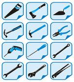 Iconos azules con herramientas — Vector de stock
