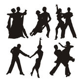 Black silhouette of couple dancing — Stock Vector