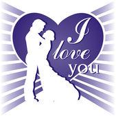Fundo azul com um casal apaixonado — Vetor de Stock