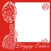 Simple red frame with Easter bunny — Stock Vector