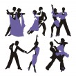 Vector lilac background with dancing couple — Stok Vektör