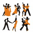 Vector orange background with dancing couple — Stok Vektör
