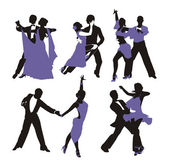 Vector lilac background with dancing couple — Stock Vector