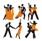 Vector orange background with dancing couple — Stock Vector
