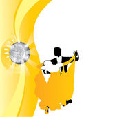 Vector background couple dancing in yellow — Stock Vector