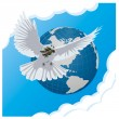 Cтоковый вектор: Vector blue background with dove and globe