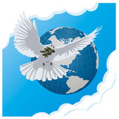 Vector blue background with dove and globe — Stock Vector