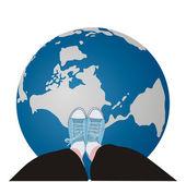 Globe underfoot — Stock Vector
