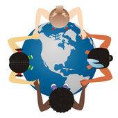 Vector world globe on children — Stock Vector