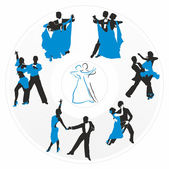 Couples dancing on the background of a circular plate — Stock Vector