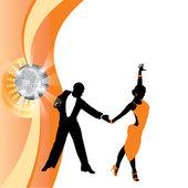 Couple dancing on orange background — Stock Vector