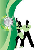 Salsa dancing couple on a green background — Stock Vector