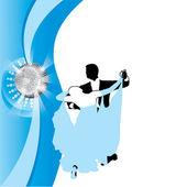 Couple dancing a waltz on a blue background — Cтоковый вектор