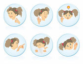 Icons with girls — Stockvector
