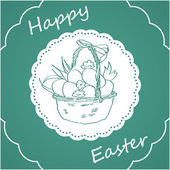 Green square background with Easter bunny — Vector de stock