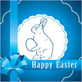 Blue square background with Easter bunny — Stock Vector