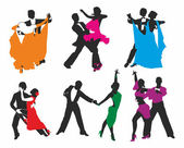 Vector set of colored dancing couples — Stock Vector
