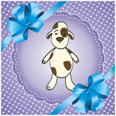 Purple square background with a dog — Vector de stock