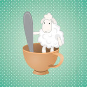 Funny lamb over green background — Stock Vector
