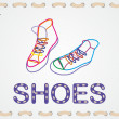 Sneakers painted with colored lines — Stock Vector #44144073