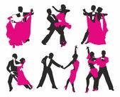 Vector set of dancing couples — Stock Vector