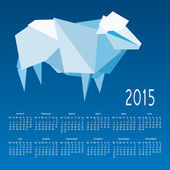 Calendar 2015 with a mosaic sheep on a blue background — Stock Vector