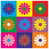 Background multicolored squares and flowers — Stock Vector