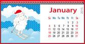 Calendar for January and lamb skiing — Stock Vector