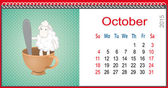 Calendar for October and lamb sitting in a cup — 图库矢量图片