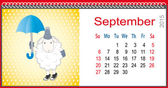 Calendar for September and lamb with an umbrella in the rain — 图库矢量图片