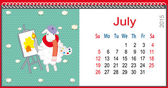 Calendar for July and lamb artist — Vetorial Stock