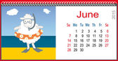 Calendar for June and lamb Sea — 图库矢量图片