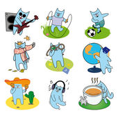 Active set of cheerful cats — Stock Vector