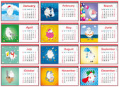Set of calendars for each month in 2015 with active sheep — Stock Vector