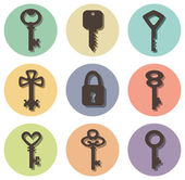Vector icons of keys of different shapes — Stock Vector