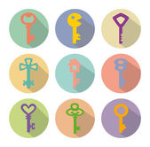 Colored vector icons of keys — Stock Vector