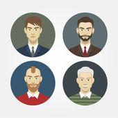 Set ikonen-porträts von männern closeup — Stockvektor