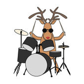 Christmas reindeer plays drums — Stock Vector