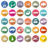 Transport white icons in colored circles — Stock Vector