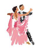 Watercolor sketch of dancing couple — Stock Vector