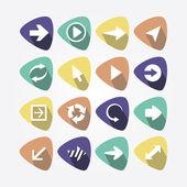 Icons of arrows in multicolored treuglnikah — Stock Vector