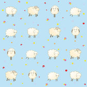 Blue baby wallpaper with sheep — Stock Vector