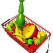 Stock Photo: Market Basket Full of Fruits on White Background, 3D.