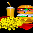 Fast Food Isolated on Black, 3D. — Stock Photo