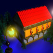Rural House at Night, 3D. Fir Trees. - Stock Photo