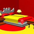 Bedroom. 3D. — Stock Photo
