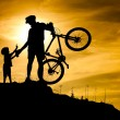 Mountain biker silhouette with his son at the top of the hill. — Stock Photo #18601817