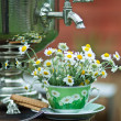 Royalty-Free Stock Photo: Chamomile tea cup. Still life with flowers and samovar