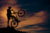 Mountain biker at top of the hill — Stock Photo