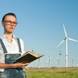 Female Engineer in Wind Turbine Power Generator Station — Stock Photo #25053039
